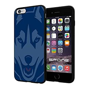 NCAA Uconn Huskies Logo Apple Smartphone iPhone 6 Plus 5.5 inch Case Cover Collector TPU Soft Black Hard Cases by runtopwell