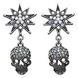 Kirks Folly Starlight Skull King Pierced Earring (Antique Silvertone/Black)