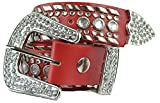 Womens Studded Belts - Multiple Colors & Designs - Western Cowgirl PU Leather Rhinestone Belt with Bling Buckles by Belle Donne - Red