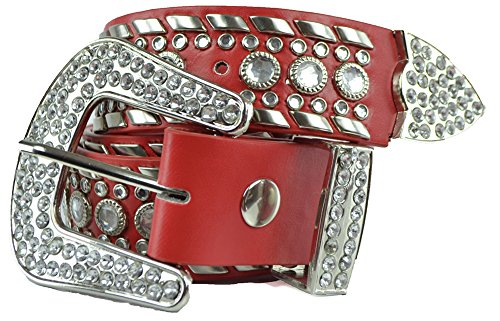 Womens Studded Belts - Multiple Colors & Designs - Western Cowgirl PU Leather Rhinestone Belt with Bling Buckles by Belle Donne - (Leopard Skin Belt)