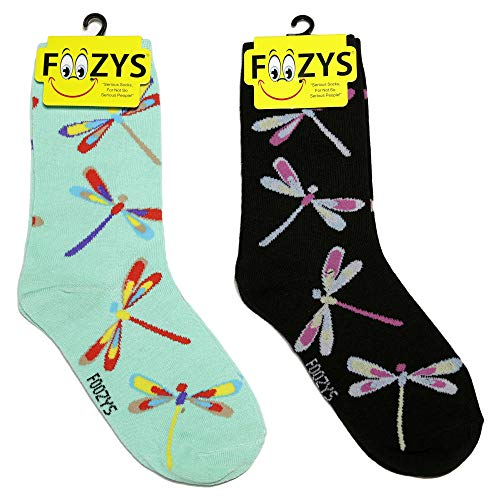 - Foozys Women's Crew Socks | Dragonflies Island Oasis Novelty Socks | 2 Pair