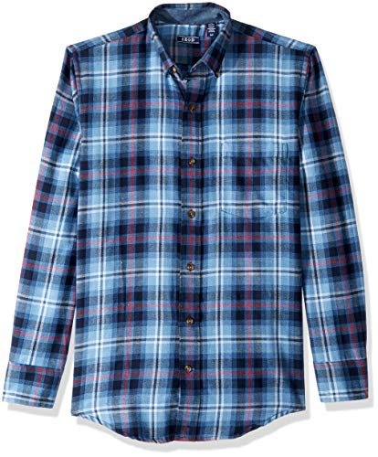 IZOD Men's Stratton Long Sleeve Button Down Plaid Flannel Shirt, Peacoat, Large ()