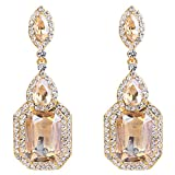 BriLove Wedding Bridal Dangle Earrings for Women Emerald Cut Crystal Infinity Figure 8 Chandelier Earrings Champagne w/Clear Gold Toned