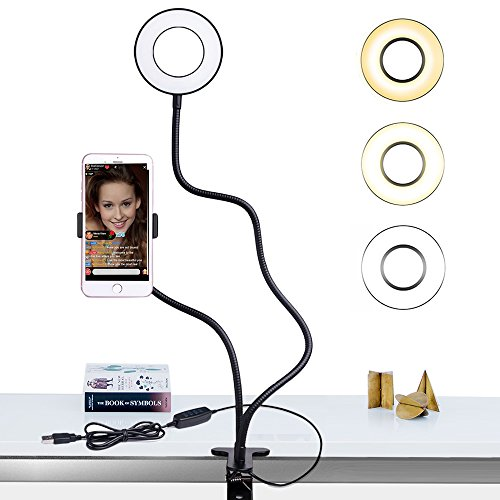 Selfie Ring Light with Cell Phone Holder Stand for Live Stream/Makeup, Bcway Clip Lazy Bracket for iPhone/Android, [3-Light Mode] [10-Level Brightness] LED Desk Lamp for Kitchen, Bedroom by Bcway