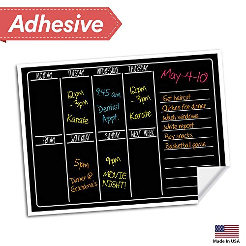 Dry Erase Chalkboard Wall Calendar - 15 x 11 - Refrigerator Home & Kitchen Sticker Menu Board - Non Magnetic Reusable Chalk Board Vinyl Decal - Black Fluorescent Custom Weekly Calendar Planner