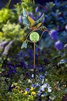Moonrays 91444 Solar Powered Garden Glass Hummingbird Stake LED Light, Metal & Glass