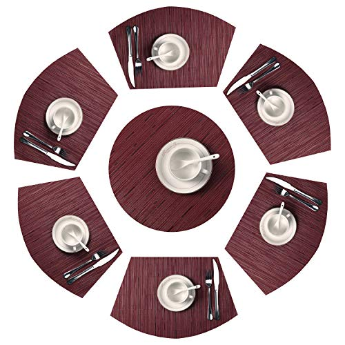 SHACOS Round Table Placemats Wedge Place Mats with Centerpiece Burgundy Red PVC Heat Resistant Table Mats Wipeable(7, Burgundy Red) -