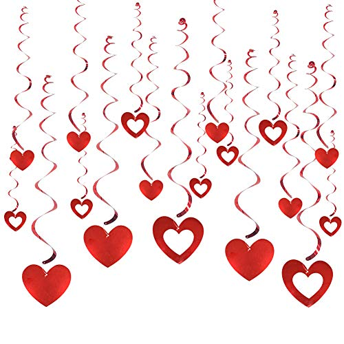 21 PCS Hanging Heart Swirls for Valentine's Day Decorations Anniversary Wedding Bridal Shower Bachelorette Party ()