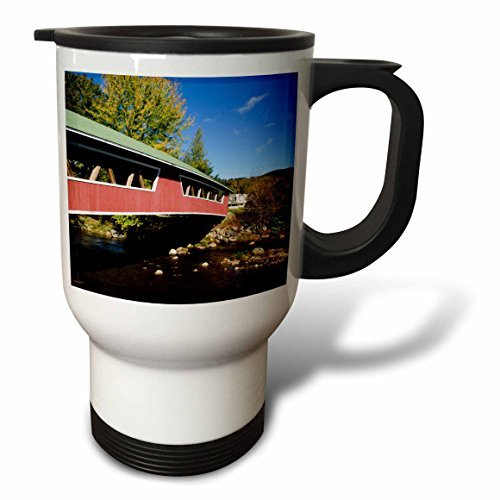 3dRose tm_210004_1 USA, New Hampshire, Jackson Covered Bridge in Wentworth Country Club Travel Mug, 14 oz, ()