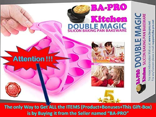 BA-PRO JNXD-119, 20-Cavity Ball Shape Baking Mold, Muffins Cupcakes Cookware Silicone Set, Best for Brownies, Pies, Lollipops, Candies, Jelly and Chocolate, Ice Cream Tray, 228/186/40mm (L/W/H), Pink 5 BAKING EXPERIENCE with ZERO FRUSTRATION It's Humongous: a Multi-Use Cookware of Sturdy yet Flexible Double Tray Cupcake Pan that Will Carry All Baking Endeavors with Embarrassing Ease and Effortless Comfort. Elegant Shape, Available Here in Our USA Stock