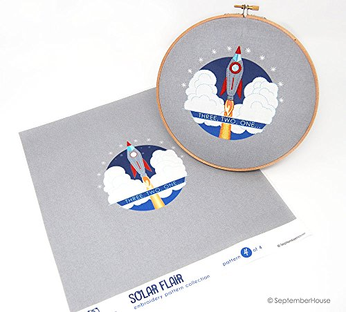 Modern Space Embroidery Kit, Three Two One Rocket Embroidery Panel Pre-printed fabric for hand embroidery, Space Embroidery