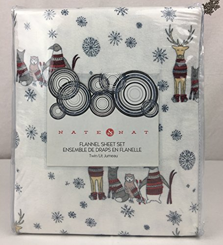 NATE & NAT 100% Cotton Flannel Sheet Set Ski Woodland Animals Deer, Fox, Owl, Penguin in Red, Grey Sweaters Snowflakes on White (TWIN)
