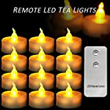 Micandle 12 Pack Remote Candles,Led Flameless Remote Tea Lights for Wedding Party Church Home Decorate,Last up to 48 Hours,Battery Amber Flickering Remote Tealights for Wedding Party