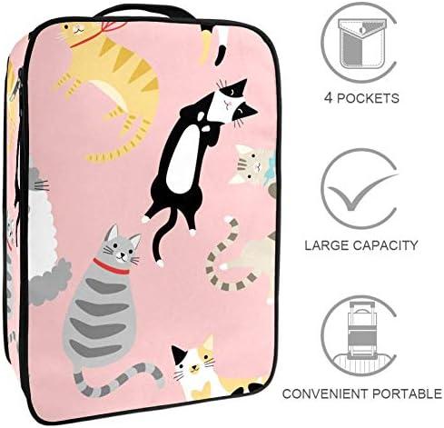 MYSTAGE シューズバッグ 靴箱 シューズケース シューズ袋 旅行収納ポーチ 二層式 靴入れ 小物収納 収納ケース アウドドア 出張 旅行 かわいい 猫