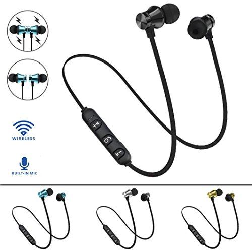 Dirance BT 4.2 Wireless Magnetic in-Ear Sports Stereo Bass Earbuds Earphone Headphone with Mic for Cellphone Tablet Laptop (Black)