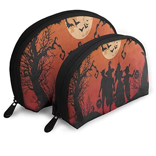 (Makeup Bag Halloween Witch Bat Full Moon Pumpkin Portable Half Moon Travel Bags Organizer For)