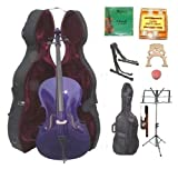 GRACE 3/4 Size PURPLE Cello with Hard Case + Soft Carrying Bag+Bow+Rosin+Extra Set of Strings+Extra Bridge+Pitch Pipe+Black Cello Stand+Music Stand BY MERANO