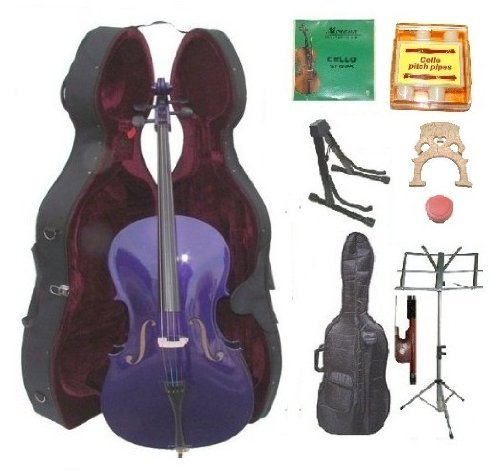 GRACE 3/4 Size PURPLE Cello with Hard Case + Soft Carrying Bag+Bow+Rosin+Extra Set of Strings+Extra Bridge+Pitch Pipe+Black Cello Stand+Music Stand BY MERANO by Merano