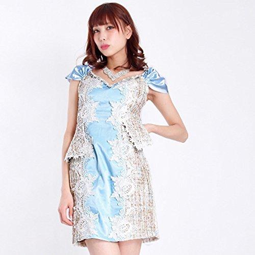 桃男ネクタイRipple plus ドレス キャバ ミニ キャバドレス ツイード×サテンぺプラムミニドレス ワンピース ナイトドレス キャバクラ キャバ嬢 袖付き 袖あり 半袖 ビジュー