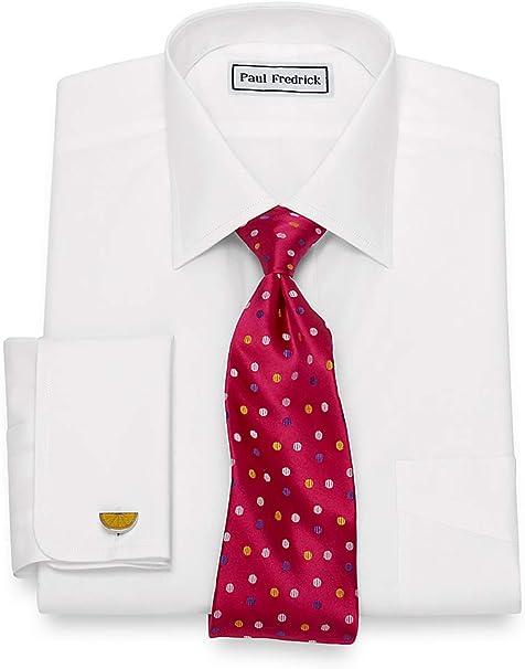 Paul Fredrick Mens Supima Non-Iron Cotton Solid Color Button Cuff Dress Shirt