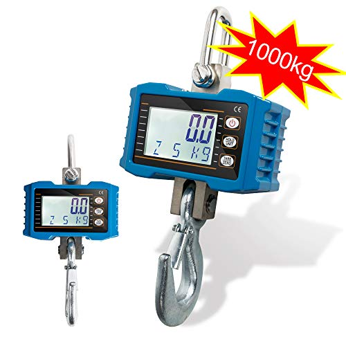 zinnor 1000KG OCS-S Heavy Duty Digital Crane Hanging Scale for Farm, Hunting, Bow Draw Weight, Big Fish & Hoyer Lift High Precision Scale Portable Small Electronic Crane Scale Blue Accurate ()