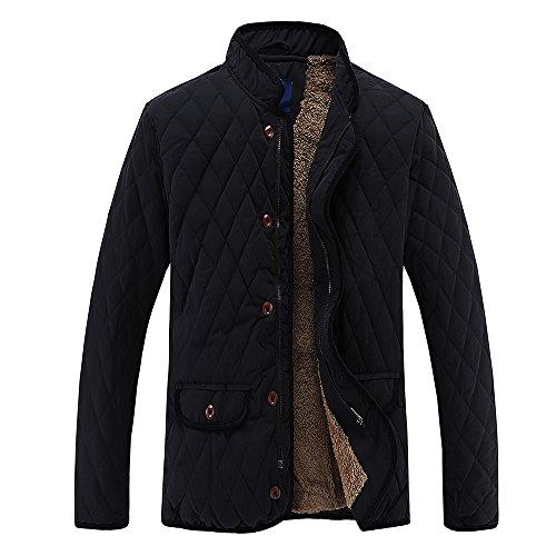 MADHERO Men's Warm Stylish Cotton Coat Stand Collar Plush Lining Winter (Mens Winter Coat Jacket)