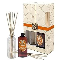 VALENCIA ORANGE Aromatique ROUND RIBBED Reed Diffuser Gift Set