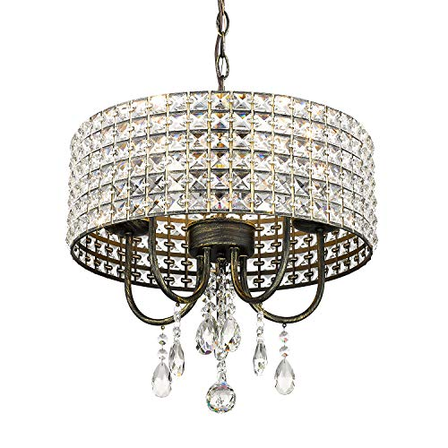 Emliviar Modern Crystal Chandelier Five Light Pendant Light, Ceiling Lighting Fixture, with Crystal Beaded Drum Shade, Stressed Black with Gold Finish, 0938P-5BK