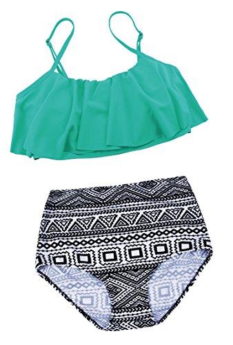 Angerella Mujeres Lindo traje de baño correa traje de baño Top Flounce Bikini Verde