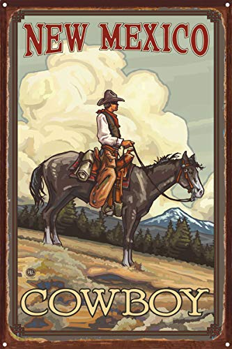 (New Mexico Cowboy Summer Cowboy Clouds Rustic Metal Art Print by Paul A. Lanquist (12