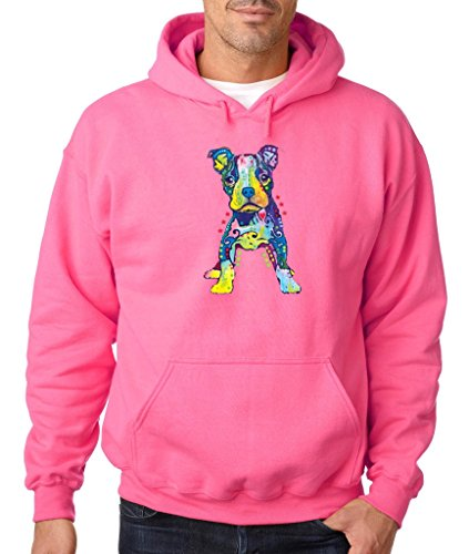 Cute Puppy I Love Dogs Hoodie Pitbull Puppy Dog Mom Dog Dad Sweatshirt Safety Pink 518 (Puppy Mens Hoodie Love)