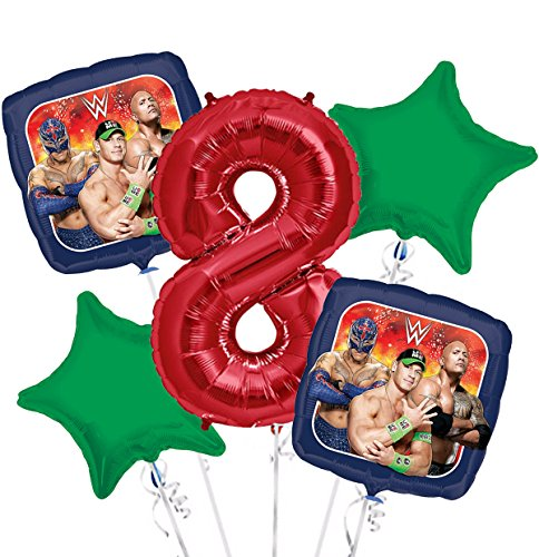 WWE Balloon Bouquet 8th Birthday 5 pcs - Party Supplies by Viva Party