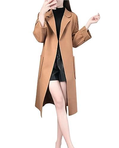 Mujer Solapa Slim Abrigos Con Cinturón Cálido Chaqueta Faux Lana