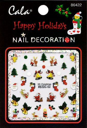 Bundle 3 Items: Cala Nail Decoration X2 Packs 3d Christmas #86422+ Aviva Eco Nail File - Eco Christmas Decorations