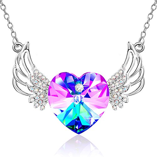 Love Heart Wings Crystals from Swarovski Pendant Necklace gifts Jewelry for Women Daughter Wife Mom Wedding Anniversary