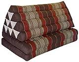 Thai triangle cushion XXL, with 2 folding seats, brown/burgundy, sofa, relaxation, beach, pool, meditation, yoga, made in Thailand. (82517)
