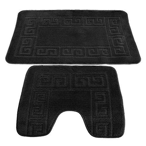 - 2 Piece Greek Key Pattern Bath Mat And Pedestal Mat Set (One Size) (Black)