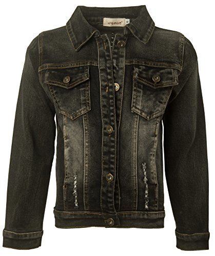 Ipuang Girls' Casual Denim Jacket Black 16 ()