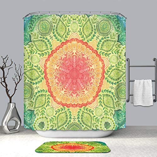 Custom Colorful Life Shower curtain And bath mat Ethnic Mandala Tie Dye Design Flower Children Kids Children Inspired Image Blue Red Yellow Fabric Bathroom Curtains with Non-Slip Floor Doormat Rugs (Tie Dye Toothbrush)