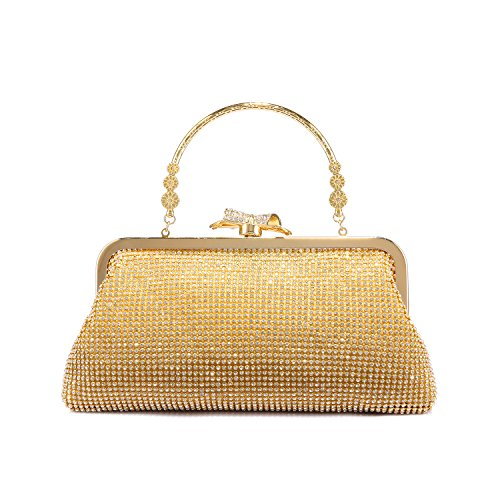 (LOVEVOOK Evening Bag Clutch Purse for Wedding with Rhinestones Gold)