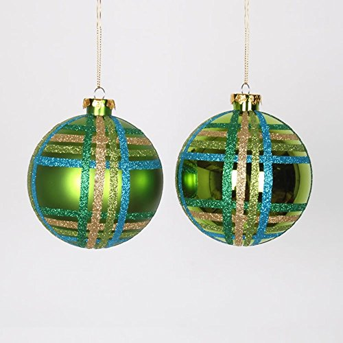 4ct Lime Green w/ Blue, Green & Gold Glitter Plaid Shatterproof Christmas Ball Ornaments 4