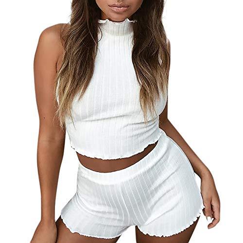 NINGSANJIN Suit Femme Jogging Legging Casual Pantalons Short + Top Shirt Haut Gilet sans Manches,Sport Set Short Femmes Sexy 2pcs Blanc
