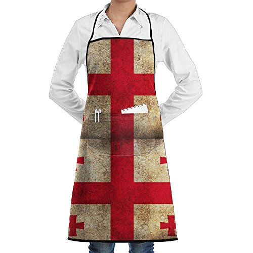 Republic Of Georgia Flag Apron Lace Unisex Mens Womens Chef Adjustable Polyester Long Full Black Cooking Kitchen Aprons Bib With Pockets For Restaurant Baking Crafting Gardening BBQ Grill