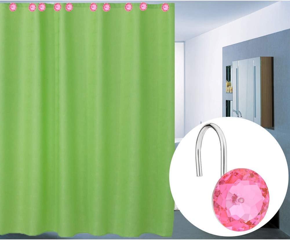 Blue FABSELLER Shower Curtain Hooks Anti-Rust Shower Curtain Rings Acrylic Decorative Rhinestones Rolling Bathroom Bath Set of 12