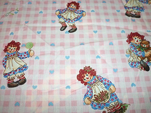 Raggedy Ann & Andy Fabric Flannel Pink Checks By The Fat Quarter BTFQ