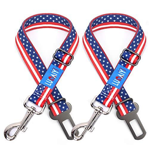 LUOAIYI Dog Seat Belt, 2 Pack USA Flag Pattern Dog Seatbelts, Adjustable Vehicle Dog Seat Belts, Durable Nylon Dog Car Harness for Travel Daily Use