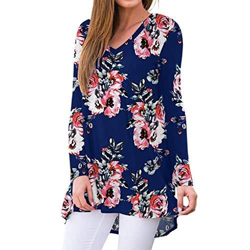 Womens Casual Long Sleeve V-Neck Print Irregular Loose T-Shirt Sweatshirt Tops Pullover Blouses (S-2XL)