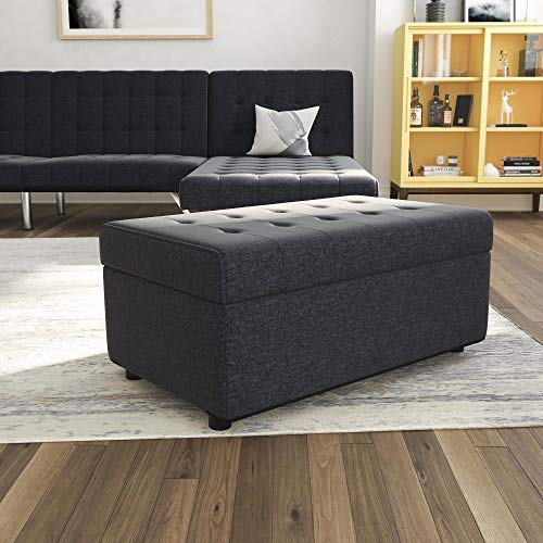 (DHP Emily Rectangular Storage Ottoman, Modern Look with Tufted Design, Lightweight, Blue Linen)