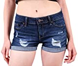 Wax Women's Juniors Body Enhancing Denim Shorts Dk. Wash Large