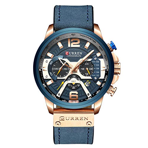 Luxury Brand New Men Fashion Casual Dress Date Leather Quartz Wrist Watch with Chronograph